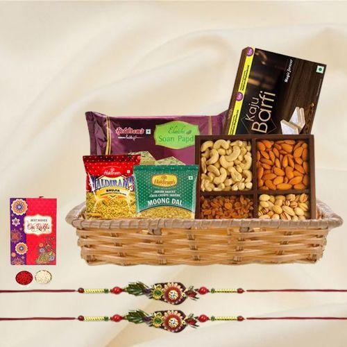 Fancy Rakhi Pair with Sweets, Snacks n Assorted Dry Fruits