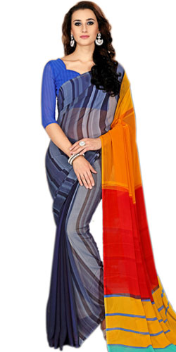 Amazing Faux Chiffon Printed Saree in Multicolor