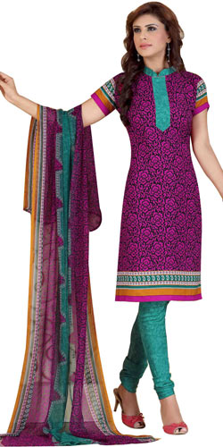 Enthralling Crepe N Chiffon Printed Salwar Suit Made by Siya
