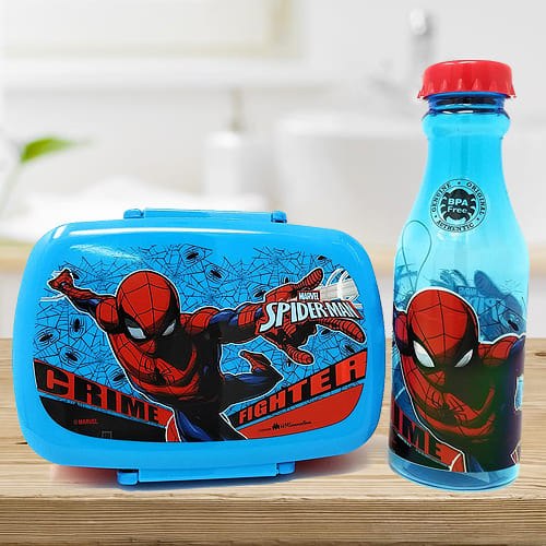 Amazing Spiderman Canteen Set of Water Bottle n Tiffin