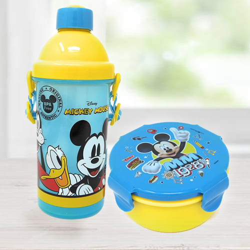 Exclusive Mickey Mouse Sipper Bottle n Tiffin Box Budget Combo