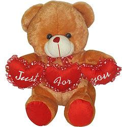 Adorable Teddy Bear with Tri Heart