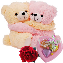 Wonderful Hugging Couple Teddy with Rose and Homemade Chocolates