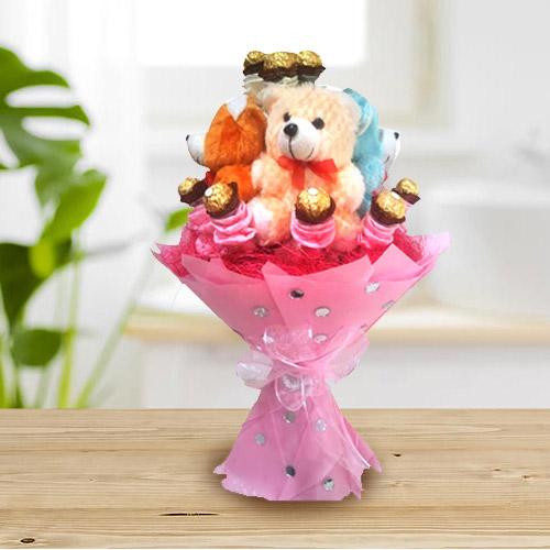 Marvelous Teddy Bouquet with Ferrero Rocher Chocolate