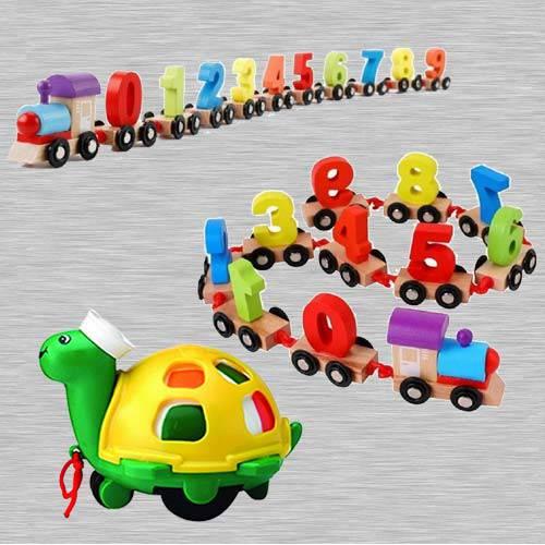 Wonderful Wooden Digital Train n Funskool Twirlly Whirlly Turtle