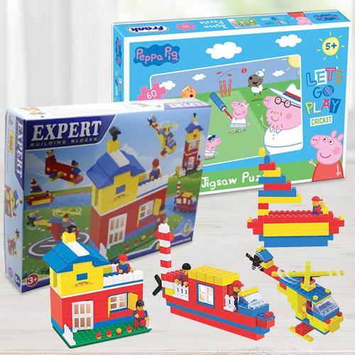 Marvelous Building Blocks N Frank Peppa Pig Lets Go Play Cricket Puzzle
