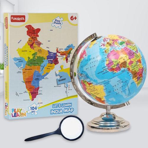 Wonderful Funskool Map Puzzle N Rotating World Globe