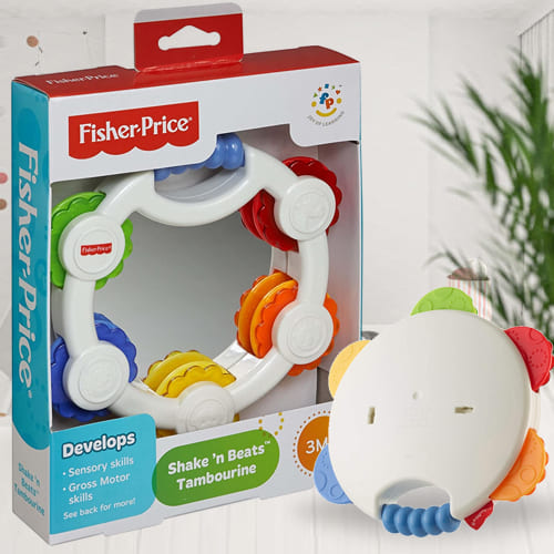 Amazing Fisher-Price Shake n Beat Tambourine Baby Rattle Toy