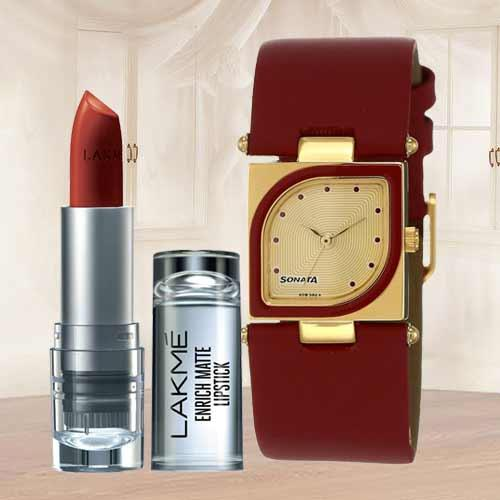 Wonderful Sonata Analog Womens Watch N Lakme Lipstick