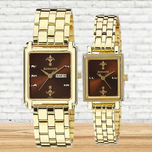 Exclusive Sonata Analog Couple Watch