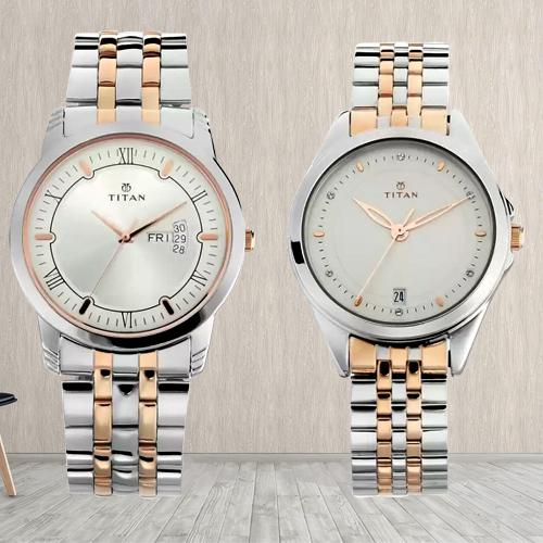 Wonderful Titan Analog Watch for Couple