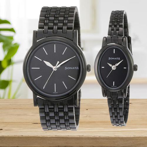 Amazing Sonata Analog Black Dial Couple Watch