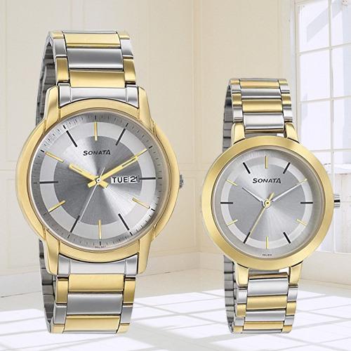 Mesmerizing Sonata Analog Silver Dial Pair Watch
